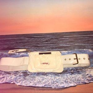 Ed Hardy Belt Bag Cream PVC Zippered Pouch Bling